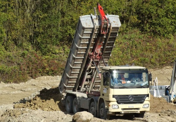 Tipper truck delivering its load