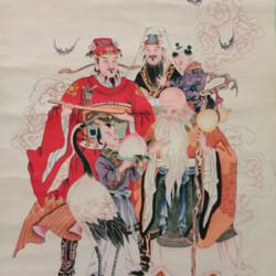 国画清画家任熊客厅装饰中堂画三星共照国画古法装裱老旧国画